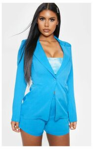 Bright Blue Fitted Suit Woven Blazer, Bright Blue