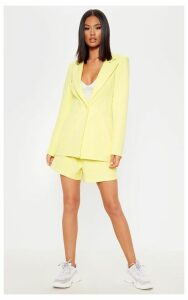 Bright Yellow Fitted Suit Woven Blazer, Yellow