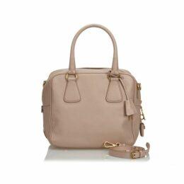 Prada Brown Leather Saffiano Satchel
