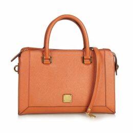 MCM Orange Leather Satchel