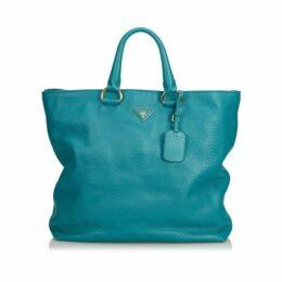 Prada Blue Vitello Daino Leather Satchel