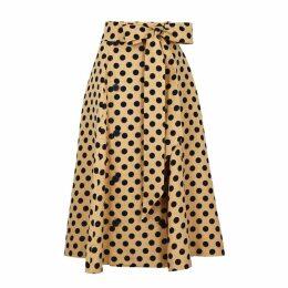 Lisa Marie Fernandez Diana Polka-dot Linen Midi Skirt