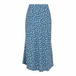 Rails London Blue Crepe Midi-skirt