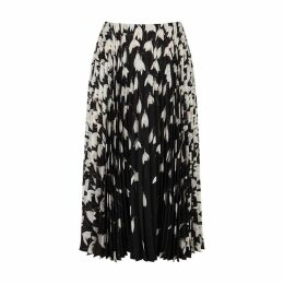 Valentino Floral-print Pleated Silk Midi Skirt