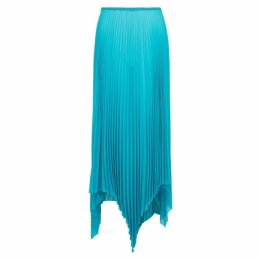 MARQUES' ALMEIDA Turquoise Pleated Georgette Midi Skirt