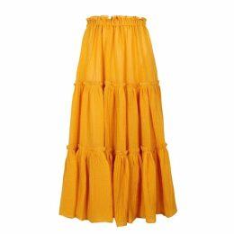 Lisa Marie Fernandez Saffron Flared Gauze Midi Skirt