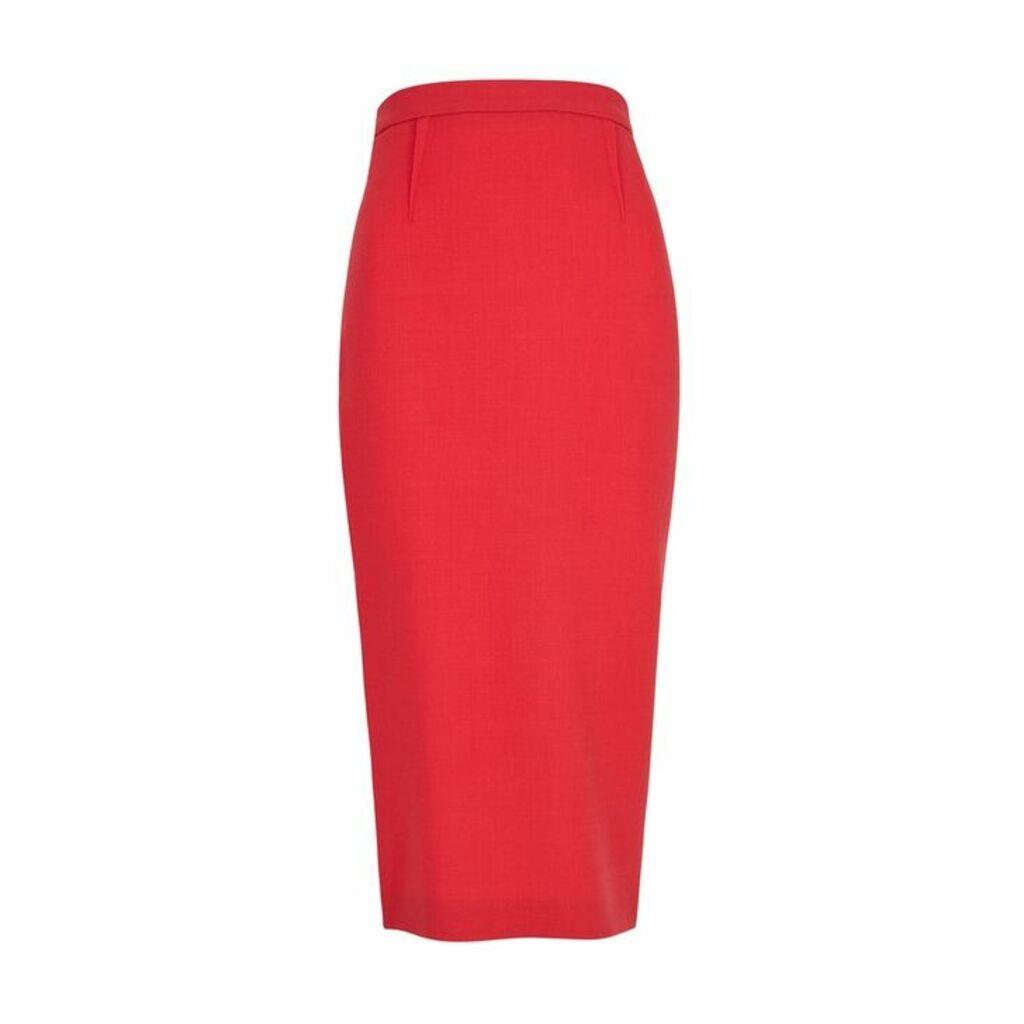 Roland Mouret Arreton Red Wool Pencil Skirt