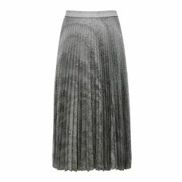 Christopher Kane Silver Pleated Lamé Midi Skirt