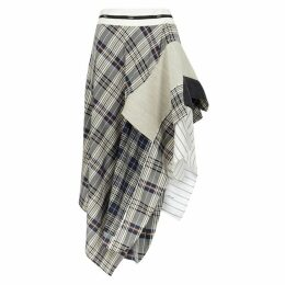 MONSE Checked Asymmetric Panelled Midi Skirt