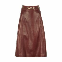 Gucci Burgundy Leather Midi Skirt