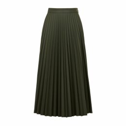 MM6 By Maison Margiela Army Green Faux Leather Midi Skirt