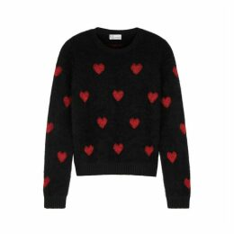RED Valentino Heart-intarsia Angora-blend Jumper