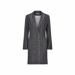 Varana Linen Jacket With Striped Accent