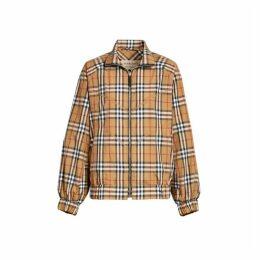 Burberry Topstitch Detail Vintage Check Harrington Jacket