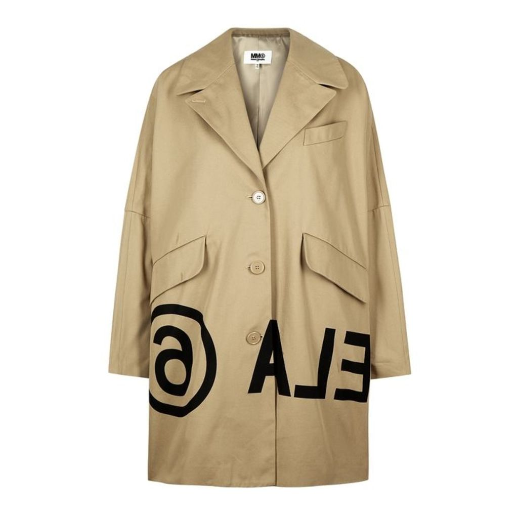 MM6 By Maison Margiela Sand Printed Cotton Twill Coat