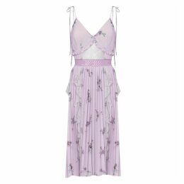 True Decadence Lilac Watercolour Floral Crepe Cami Pleated Midi Dress