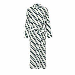 ASCENO Striped Silk Midi Shirt Dress