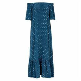 ASCENO Blue Polka-dot Silk Maxi Dress