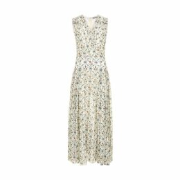 Varana Cotton Trellis Print Draped Dress