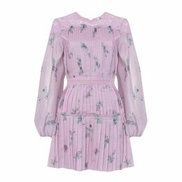 True Decadence Lilac Watercolour Floral Organza Pleated Mini Dress