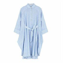Palmer//harding Serra Blue Linen Shirt Dress