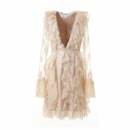 Comino Couture Delicate Nude Lace Deep V Plunge Dress