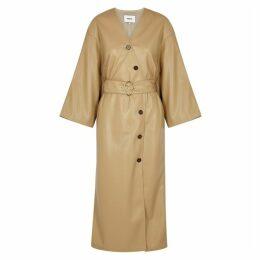 Nanushka Iben Camel Faux-leather Midi Dress