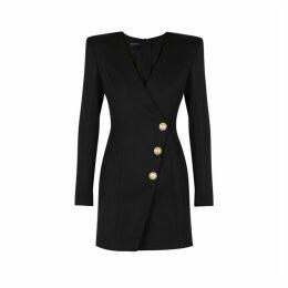 Balmain Black Wool Twill Mini Dress