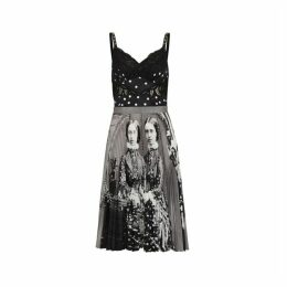 Burberry Polka Dot And Victorian Portrait Print Dress