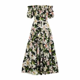 Dolce & Gabbana Black Lily-print Cotton Dress