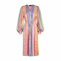 Stine Goya Violet Striped Satin Midi Dress