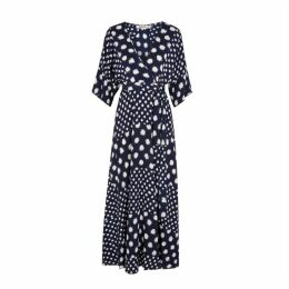 Diane Von Furstenberg Eloise Navy Printed Silk Maxi Dress