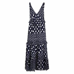 Diane Von Furstenberg Misha Navy Ruffled Silk Maxi Dress