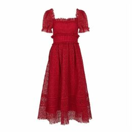 Self-Portrait Red Guipure Lace Midi Dress