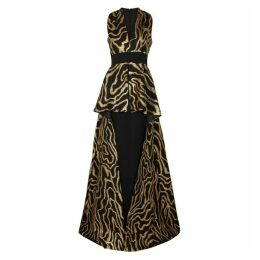 Safiyaa Helia Black And Gold Jacquard Gown