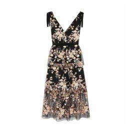 Self-Portrait Black Floral-embellished Tulle Midi Dress