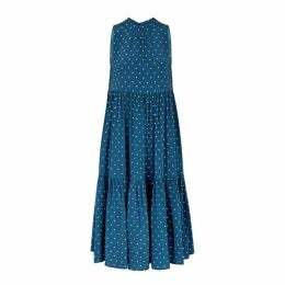 ASCENO Polka-dot Silk Midi Smock Dress