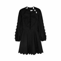 Zimmermann Goldie Scallop Black Linen-blend Mini Dress