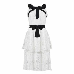 True Decadence White Black Lace Cut Work Tiered Midi Dress