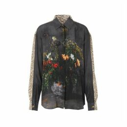 Burberry Floral And Tiger Print Silk Oversized Shirt