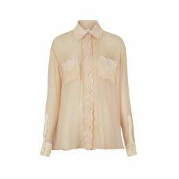 Burberry Lace Detail Silk Chiffon Oversized Shirt