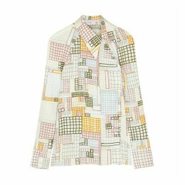 Rosetta Getty Printed Asymmetric Crepe De Chine Shirt
