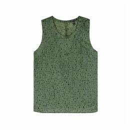 EILEEN FISHER Green Printed Silk-blend Tank