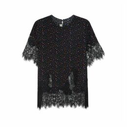 McQ Alexander McQueen Floral-print Silk And Lace Top