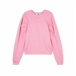 MSGM Pink Ruched Cotton Sweatshirt