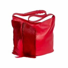 SHERENE MELINDA Hobo Springbok Leather Handbag In Red With A Fan