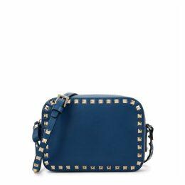 Valentino Garavani Rockstud Navy Leather Shoulder Bag