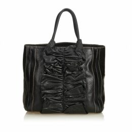 Dolce & Gabbana Black Gathered Leather Tote Bag
