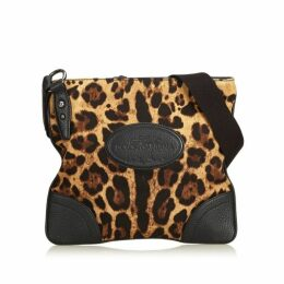 Dolce & Gabbana Brown Leopard Printed Cotton Crossbody Bag
