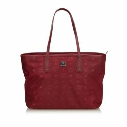 MCM Red Nylon Visetos Tote Bag